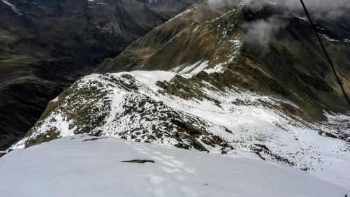 Abstieg vom Gipfel zum Nordgrat