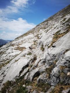 Plattliges Gelände am Ausstieg